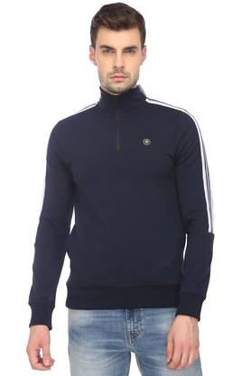 JACK AND JONES Mens Zip Through Neck Solid Sweatshirt