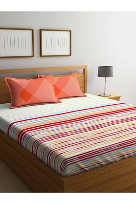 PORTICOStripe Double Bed Sheet With Pillow Cover - 203989984_9900