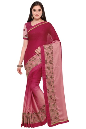 DEMARCA Womens Colour Block Embroidered Saree With Blouse Piece - 204771939_9557