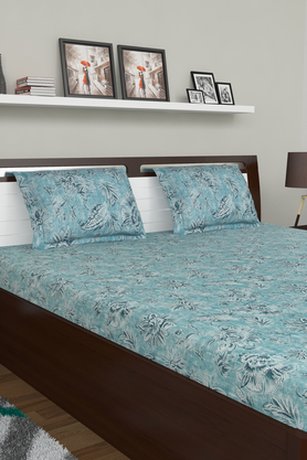 SPACES Floral Printed Double Bed Sheet With Pillow Cover And Cushion Cover - 204023210_9900