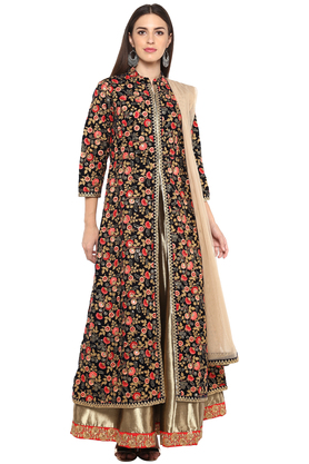 KASHISH Womens Mandarin Neck Embroidered Jacket Skirt Set