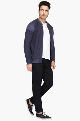 Mens Mao Collar Slub Jacket