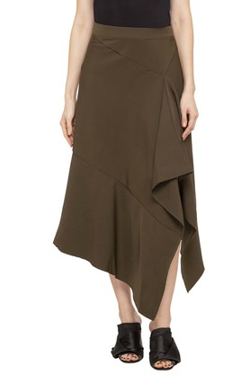 ANDWomens Solid Casual Skirt