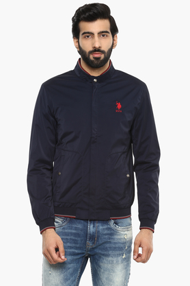 U.S. POLO ASSN. Mens Band Collar Solid Jacket