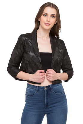 80743f374d X AND Womens Shawl Collar Embroidered Jacket