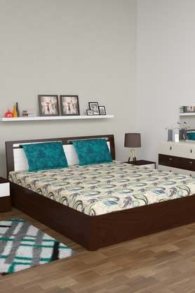IVYPrinted King Double Bed Sheet With Pillow Covers