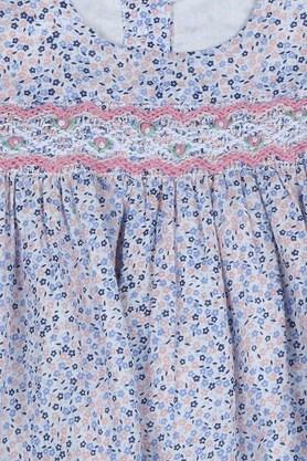 Girls Round Neck Floral Print A-Line Dress with Briefs