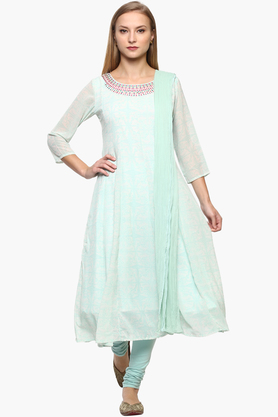IMARA Womens Round Neck Embroidered Churidar Suit