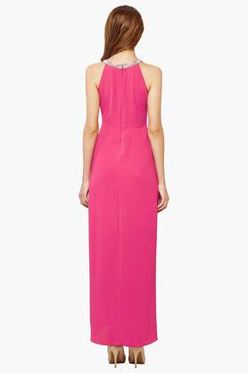 Womens Round Neck Embellished High Low Dress