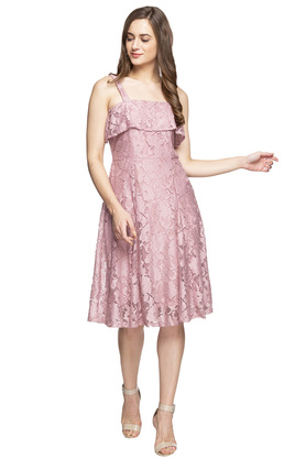 Womens Strappy Neck Lace Skater Dress