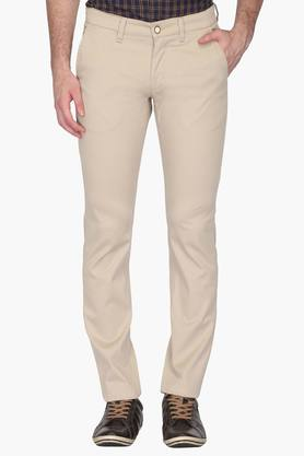 ALLEN SOLLY Mens Slim Fit 5 Pocket Solid Chinos